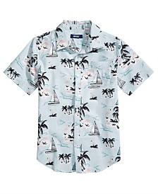 Univibe Big Boys Marina Regular-Fit Tropical-Print Shirt