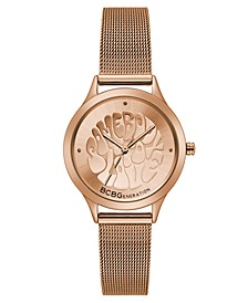 Ladies Rose Gold Mesh Bracelet Watch with Affirmation Dial