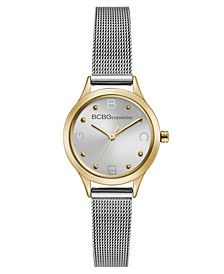 Ladies Silver Mesh Bracelet Watch with Gold Case