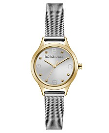 BCBGeneration Ladies Silver Mesh Bracelet Watch with Gold Case