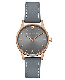Ladies Grey Synthetic Leather Strap Watch with Rose Gold Case