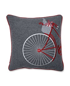 "Holiday Bicycle 16"" Throw Pillow"