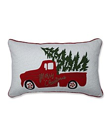 Red Christmas Truck Lumbar Pillow