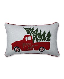 Pillow Perfect Red Christmas Truck Lumbar Pillow