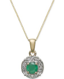 "Emerald (3/8 ct. t.w.) & Diamond (1/10 ct. t.w.) 18"" Pendant Necklace in 10k Gold"