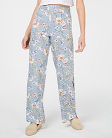 Juniors' Printed Pull-On Side-Slit Pants