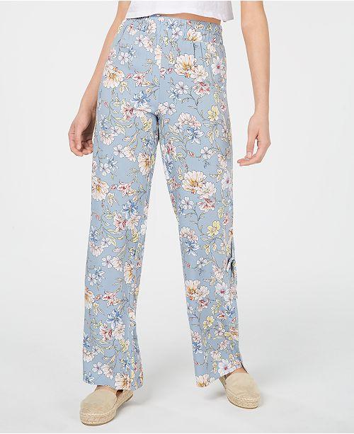 Be Bop Juniors' Printed Pull-On Side-Slit Pants