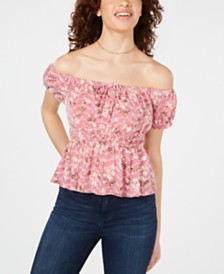 Freshman Juniors' Printed Off-The-Shoulder Blouse