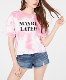 Hybrid Juniors' Maybe Later Tie-Dye Graphic T-Shirt