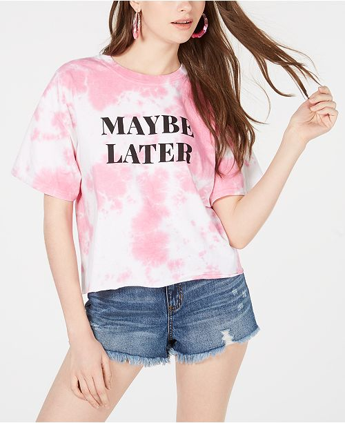Love Tribe Hybrid Juniors' Maybe Later Tie-Dye Graphic T-Shirt