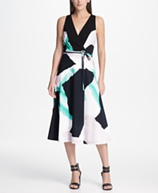DKNY Printed Faux Wrap Midi Dress