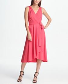 DKNY Jersey Faux Wrap Handkerchief Dress
