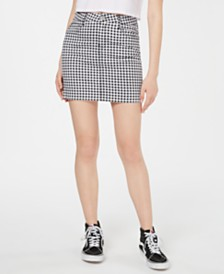 Dollhouse Gingham-Print Mini Skirt