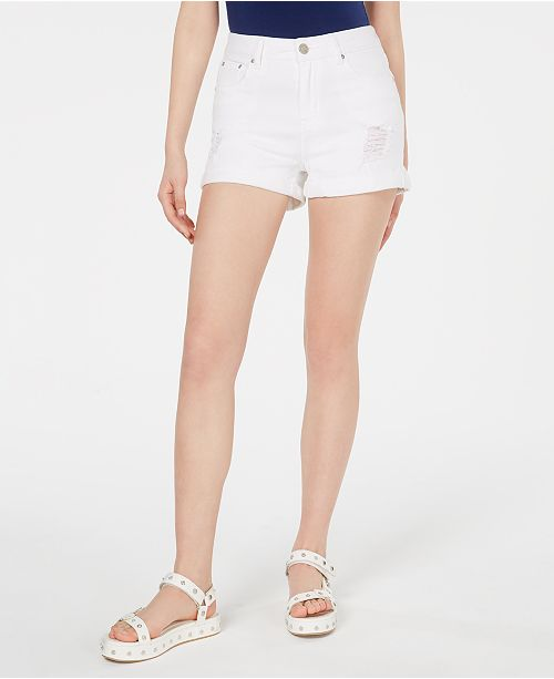 Indigo Rein Juniors' Ripped Denim Shorts