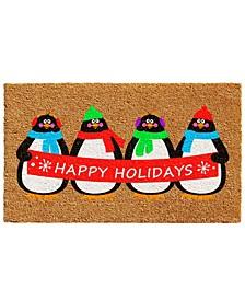 """Holiday Penguins 17"""" x 29"""" Coir/Vinyl Doormat"""