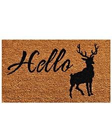 """Hello Elk 17"""" x 29"""" Coir/Vinyl Doormat"""