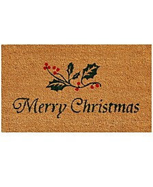 "Christmas Holly 17"" x 29"" Coir/Vinyl Doormat"