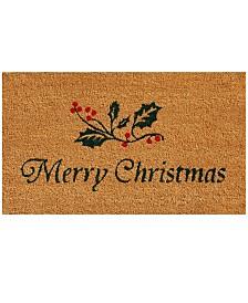 "Christmas Holly 17"" x 29"" Coir/Vinyl Doormat"