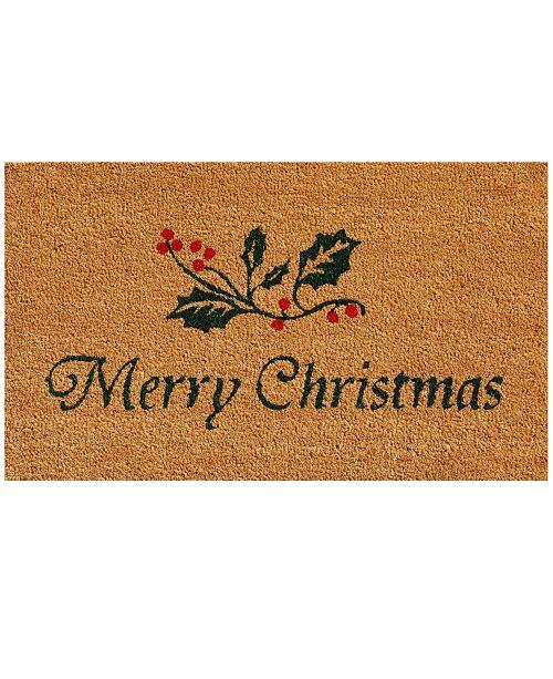 """Home & More Christmas Holly 17"""" x 29"""" Coir/Vinyl Doormat"""