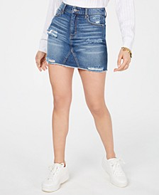 Juniors' Ripped Denim Mini Skirt