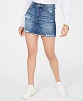 25d11f1bb Tinseltown Juniors' Ripped Denim Mini Skirt