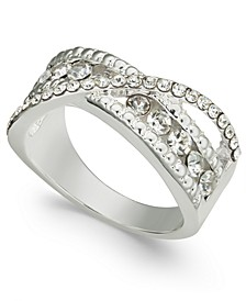 Silver-Tone Crystal Bypass Band Ring, Created for Macy's