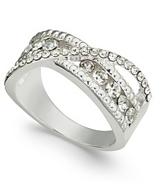 Charter Club Silver-Tone Crystal Bypass Band Ring, Created for Macy's