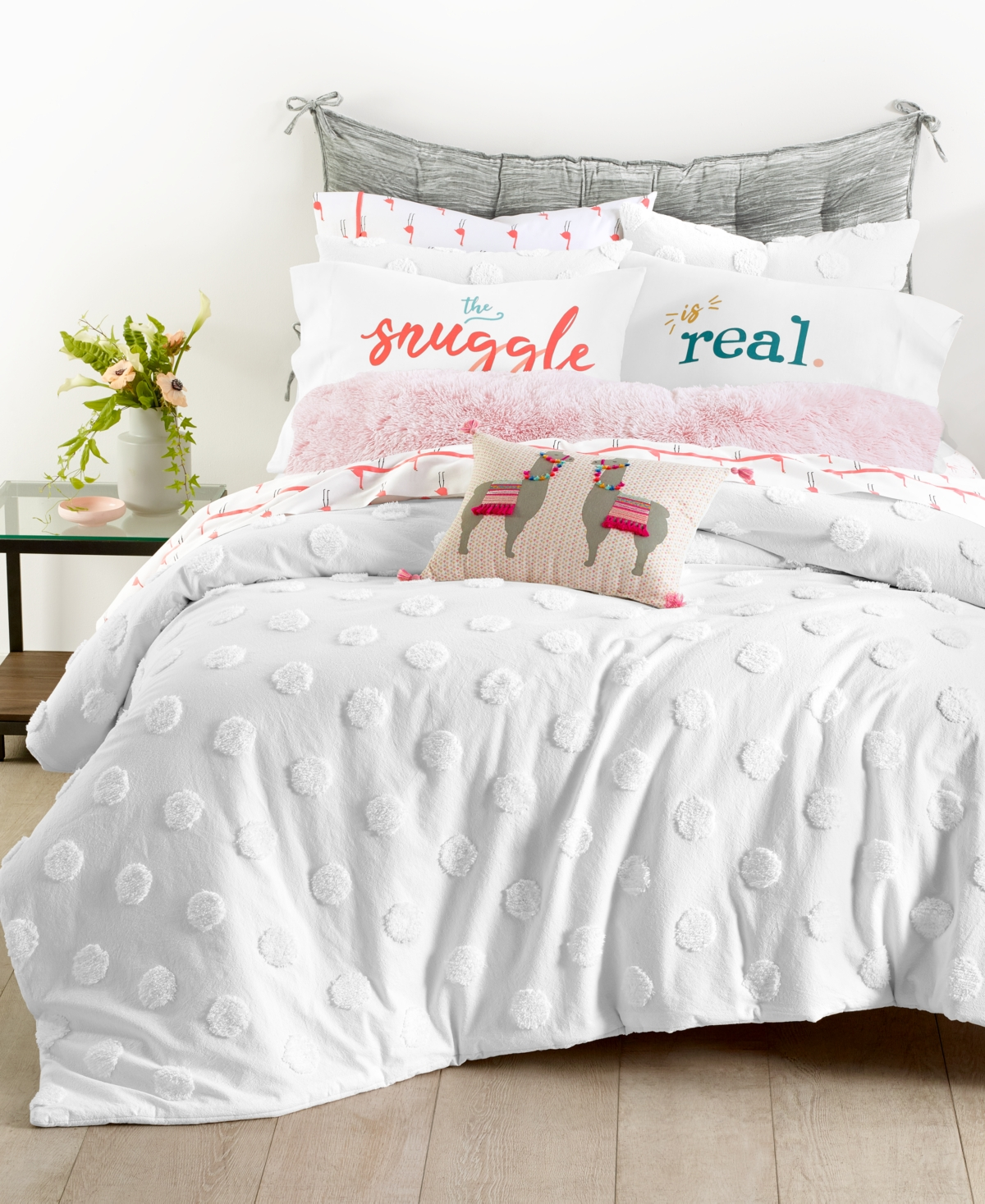 Closeout! Whim by Martha Stewart Collection Chenille Dot 3-Pc. Full/Queen Comforter Set, Created for Macy's Bedding