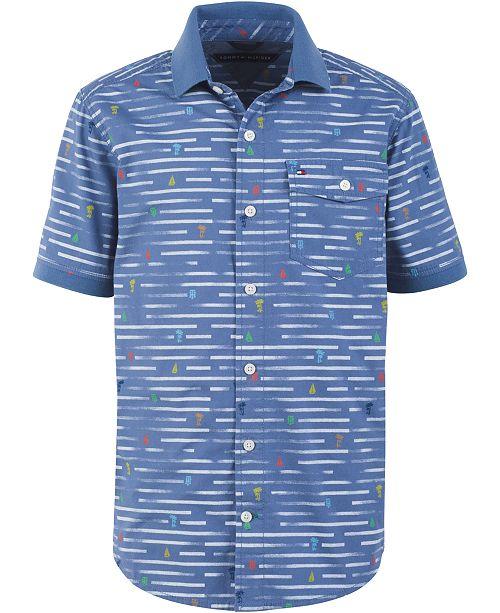 b2d375de9 Tommy Hilfiger Big Boys Nathan Broken Stripe Poplin Shirt & Reviews ...