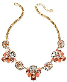 "Charter Club Gold-Tone Crystal & Stone Statement Necklace, 17"" + 2"" extender, Created for Macy's"