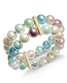 Charter Club Gold-Tone Rainbow Imitation Pearl Two-Row Bracelet, Created for Macy's