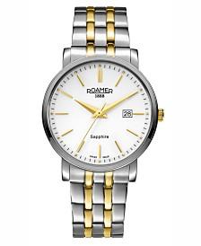 Roamer Men's 3 Hands Date 40 mm Dress Watch in Two Tone Steel Case and Bracelet