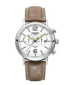 Men's Chronograph 42 mm Dress Watch in Stainless Steel Case on Strap