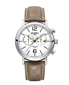 Roamer Men's Chronograph 42 mm Dress Watch in Stainless Steel Case on Strap