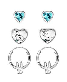 Beatrix Potter Peter Rabbit Heart Studs and Hoop Set of 3 Earrings