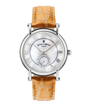 Jacques Du Manoir Ladies' Orange Genuine Leather Strap with Stainless Steel Case with Mother of Pearl Dial and Diamond Sub Dial
