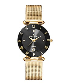 Jacques Du Manoir Ladies' Rose Gold Stainless Steel Mesh with Goldtone Case Black Bezel and Black Dial, 33mm