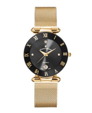 Jacques Du Manoir Ladies' Rose Gold Stainless Steel Mesh with Goldtone Case Black Bezel and Black Dial