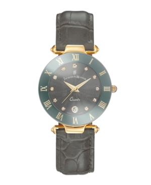 Jacques Du Manoir Ladies' Grey Genuine Leather Strap with Goldtone Case and Grey Dial with Diamond Markers