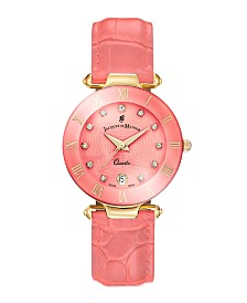 Jacques Du Manoir Ladies' Rose Genuine Leather Strap with Goldtone Case and Pink Dialwith Diamond Markers, 33mm