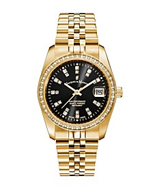 Jacques Du Manoir Ladies' Goldtone Stainless Steel Bracelet with Goldtone Case and Black Sunray Dial and Diamond Markers and Bezel, 36mm