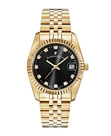 Jacques Du Manoir Ladies' Goldtone Stainless Steel Bracelet with Goldtone Case and Black Sunray Dial and Diamond Markers, 36mm