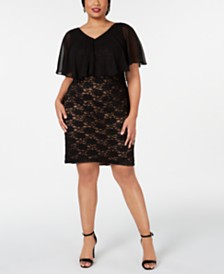 Connected Plus Size Chiffon-Overlay Lace Sheath Dress
