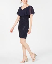 Connected Petite Chiffon-Overlay Lace Sheath Dress