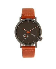 Quartz The 3600 Charocoal Dial, Genuine Orange Leather Watch 40mm