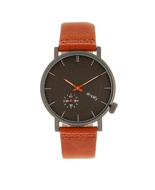 Simplify Quartz The 3600 Charocoal Dial, Genuine Orange Leather Watch 40mm