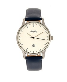 Quartz The 4300 Silver Case, Genuine Navy Leather Watch 42mm