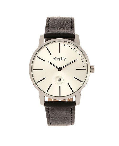 Simplify Quartz The 4700 Silver Case, Genuine Black Leather Watch 40mm