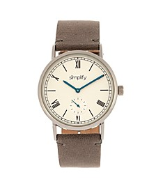 Quartz The 5100 White Dial, Genuine Charcoal Leather Watch 40mm
