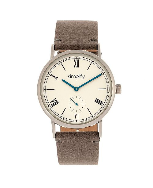 Simplify Quartz The 5100 White Dial, Genuine Charcoal Leather Watch 40mm